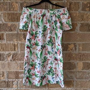 NWT Ann Taylor Factory Petite Tropical Bird Dress